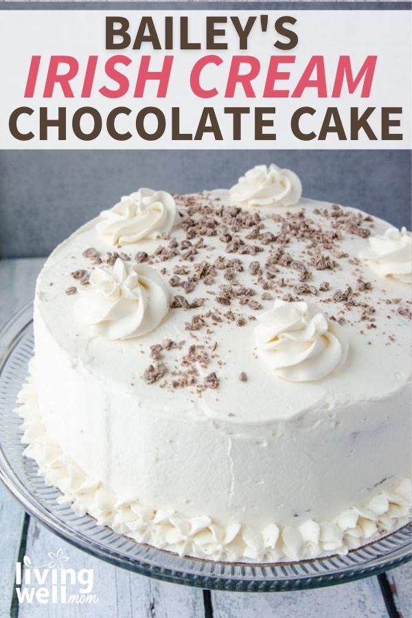 Bailey's Irish creme cake with whipped cream icing