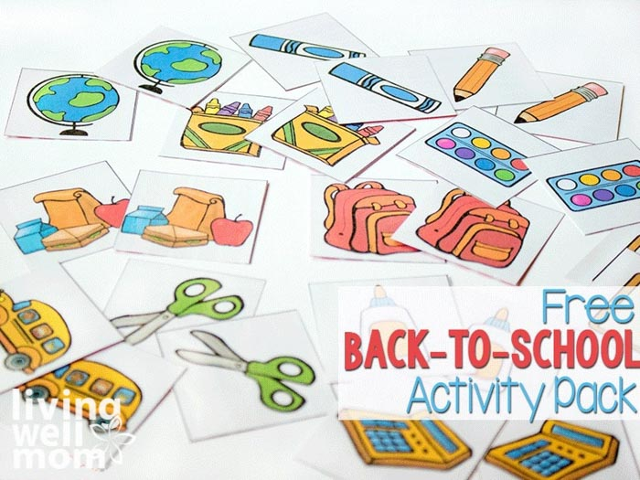 Free back-to-school activity pack for preschoolers with school supply themed printables.