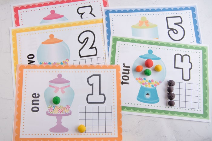 colorful numbers playdough mats