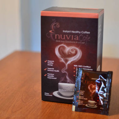 box of nuvia instant coffee on a table