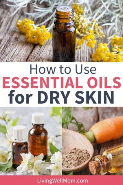 collection of essential oil images for dry skin with flowers, carrots