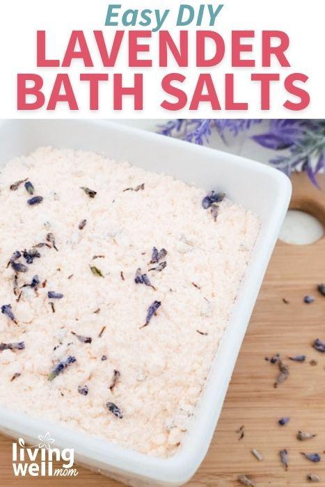 Pinterest image for lavender and orange bath salt recipe