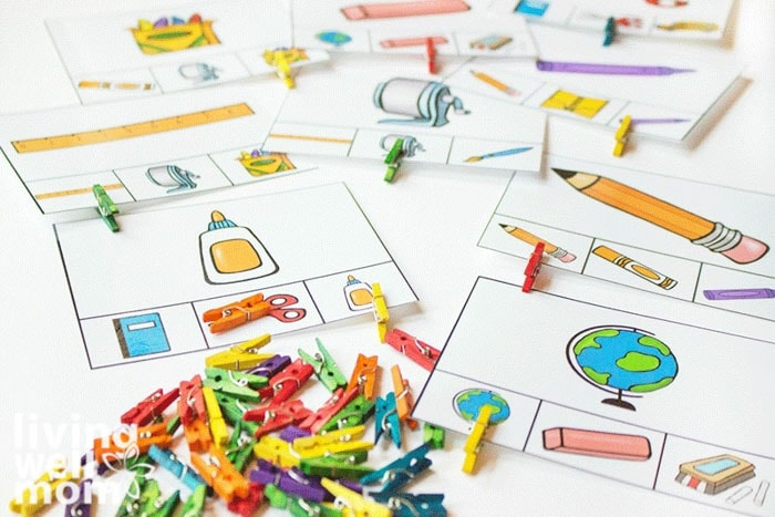Printable matching games using cards with small clipart and mini clothespins.