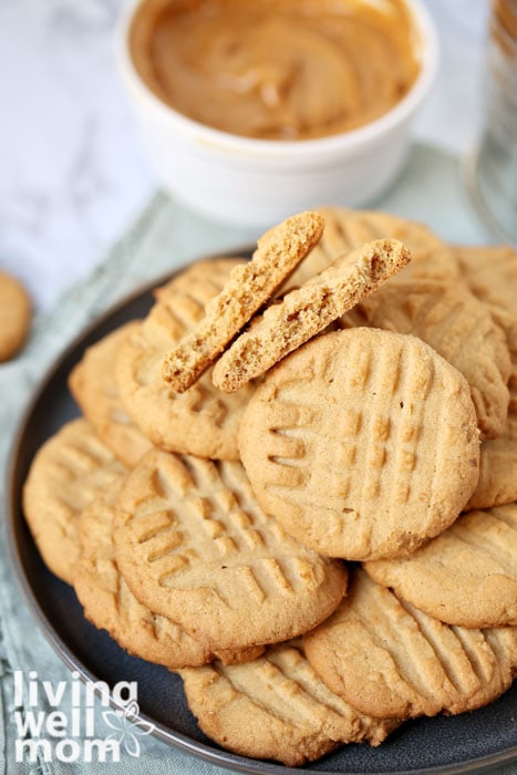 Pile of chewy peanut butter cookies on a plate