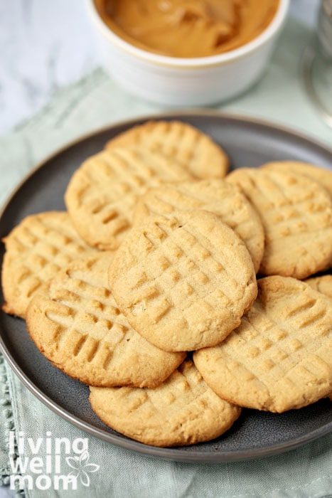 Plate of gluten free peanut butter cookies