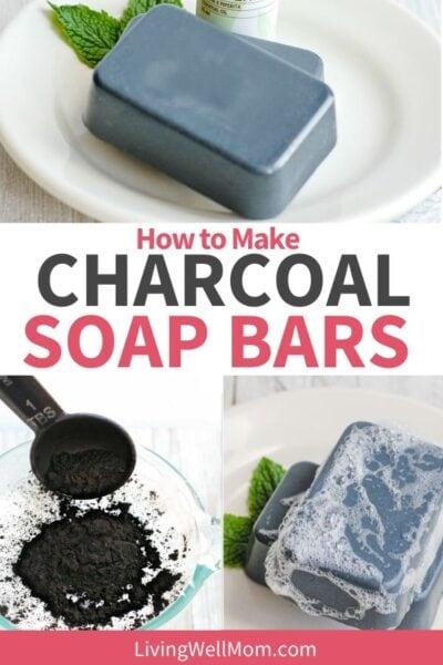 set of photos making charcoal soap bars