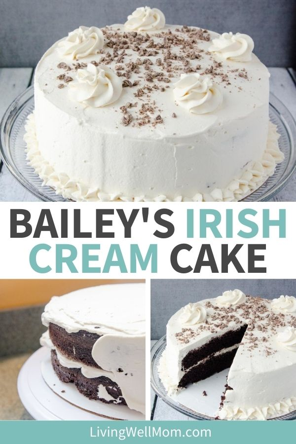 Bailey's irish cream cake with a slice taken out