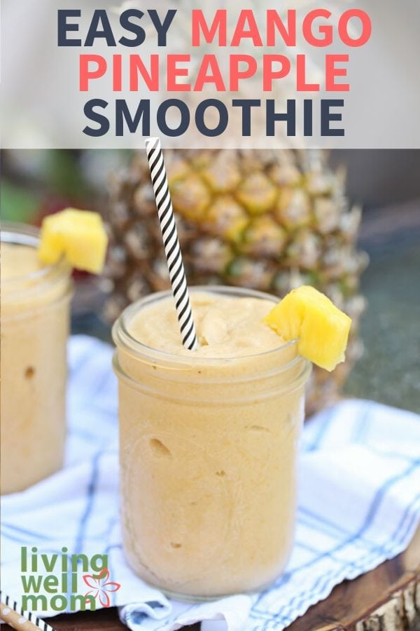 pineapple mango smoothie with straw