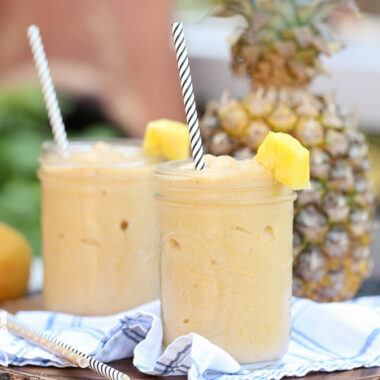 Smoothies made with mango, banana, and pineapple