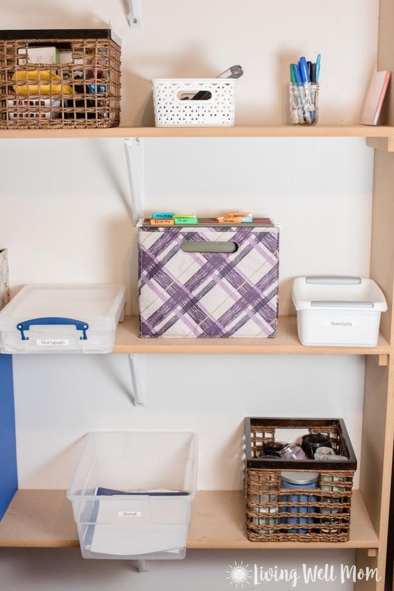 shelf with organized paperwork