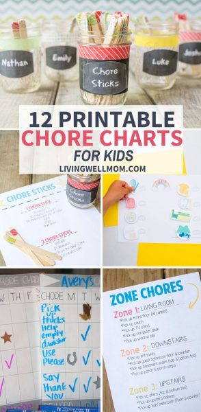 collection of printable chore chart ideas for kids