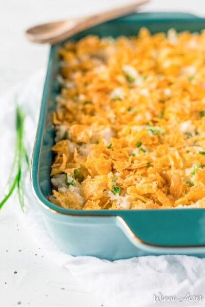 chicken and rice gluten-free casserole sitting on a table in a casserole dish