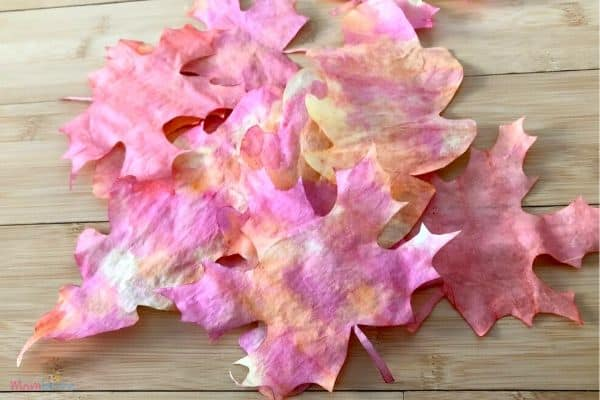 colorful fall leaves made from coffee filters