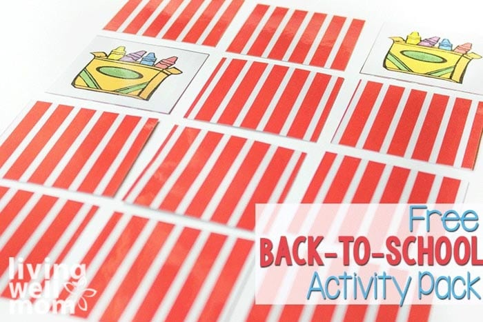 A memory game matching activity printable with 2 cards overturned and the rest face down.