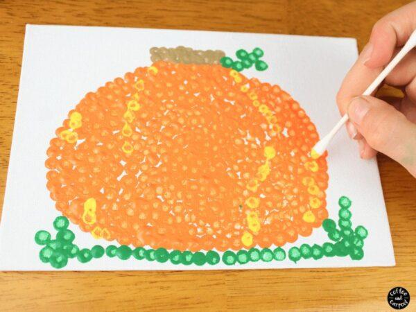 Pumpkin art made with qtips