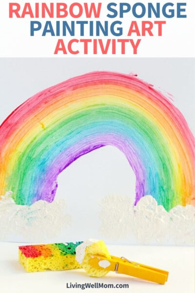 pretty colorful rainbow on paper made with sponge painting