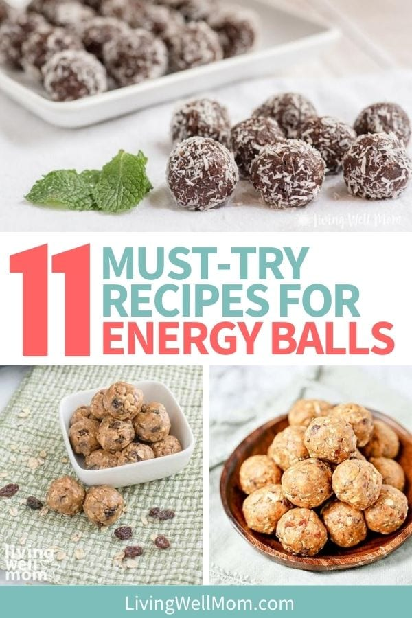 3 images of different types of energy balls