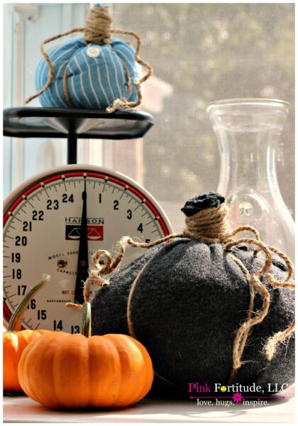 No sew pumpkin made out of an old sweater