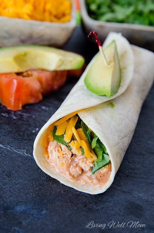 slow cooker chicken taco with fresh avocado