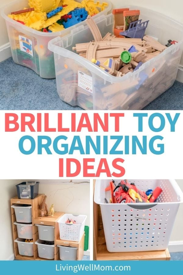Collage of toy organizing ideas