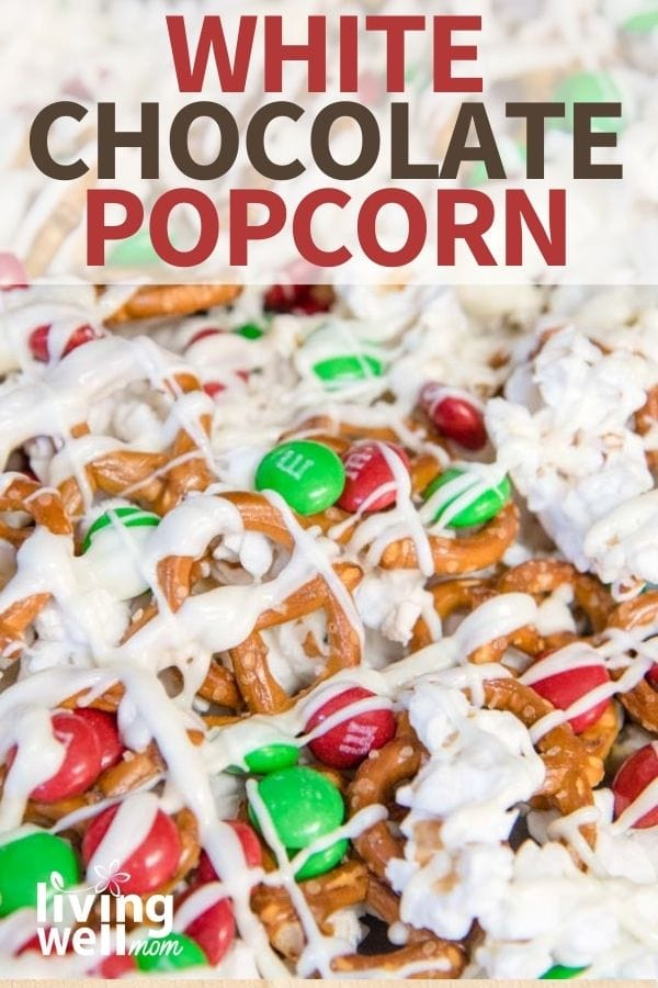 white chocolate popcorn with pretzels