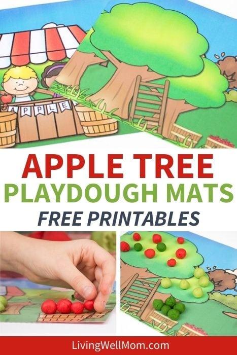 Pinterest image for apple tree playdough mats free printables.