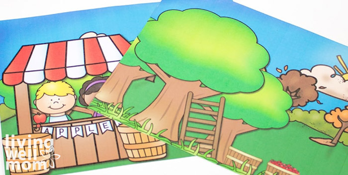 Two printed images laminated as mats for playdough play.