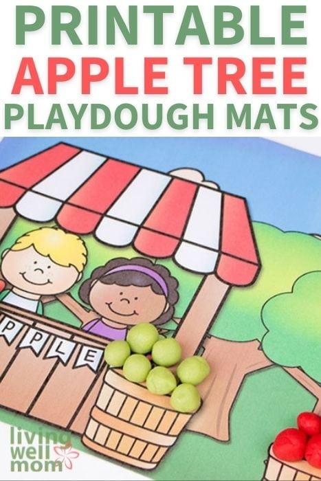 Pinterest image for printable apple tree playdough mats.
