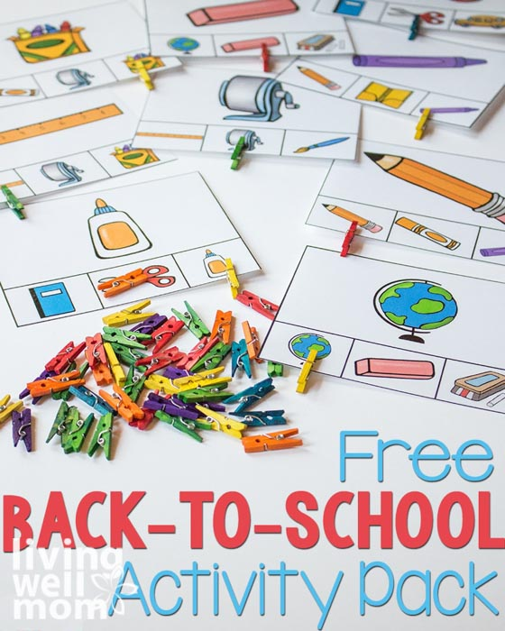 Pinterest image for free back-to-school activity pack.