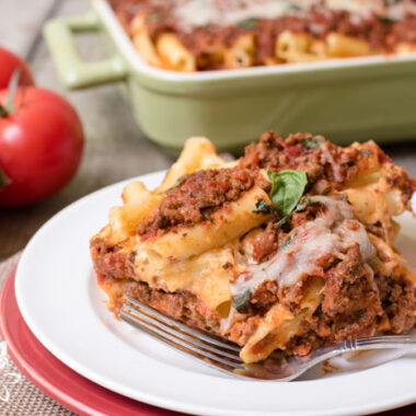 baked ziti on a plate