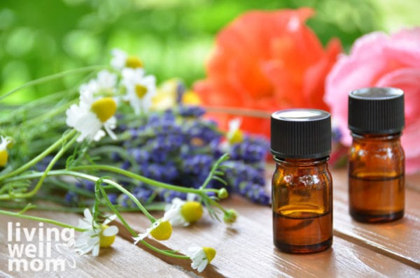 Chamomile and lavender flowers surrounding an essential oil bottle