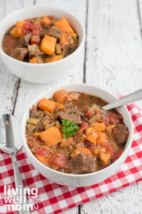 Crock pot beef stew in a bowl