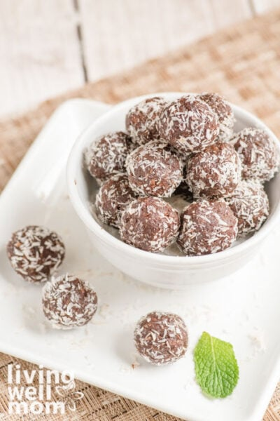 white bowl filled with chocolate energy bites