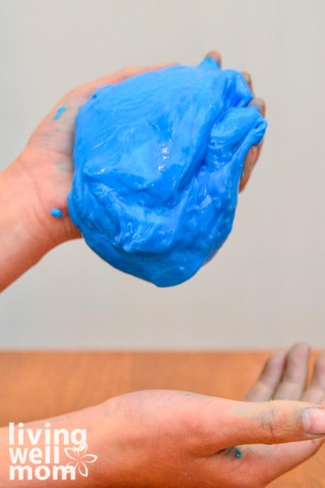 Bright blue homemade gak