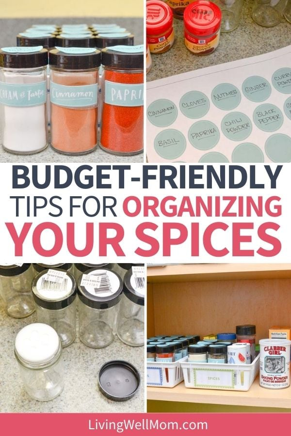 collage of different spice cabinet organization ideas