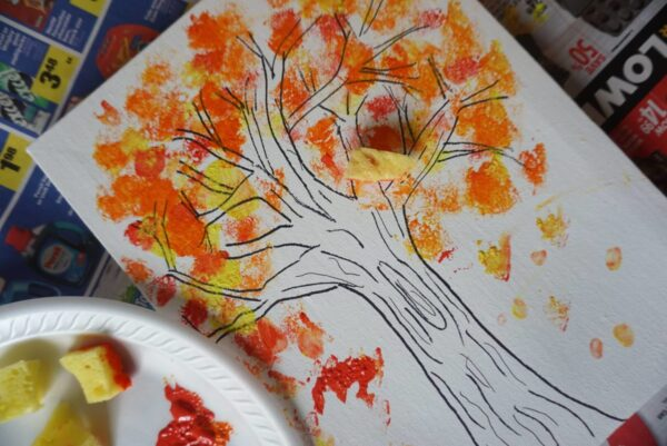 fall tree with fingerpainted colorful leaves