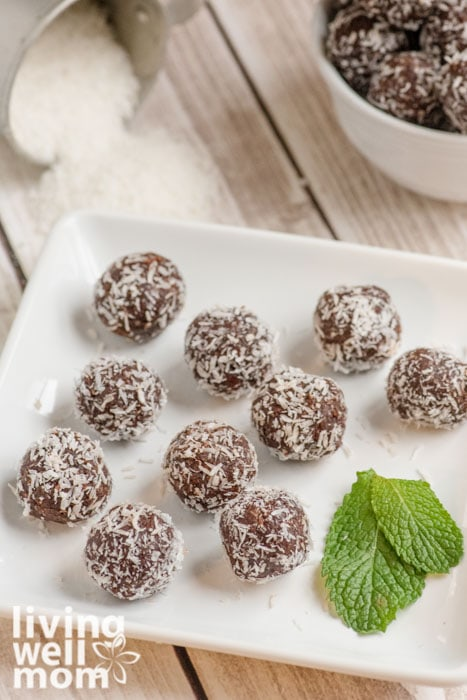 Serving platter topped with chocolate mint balls