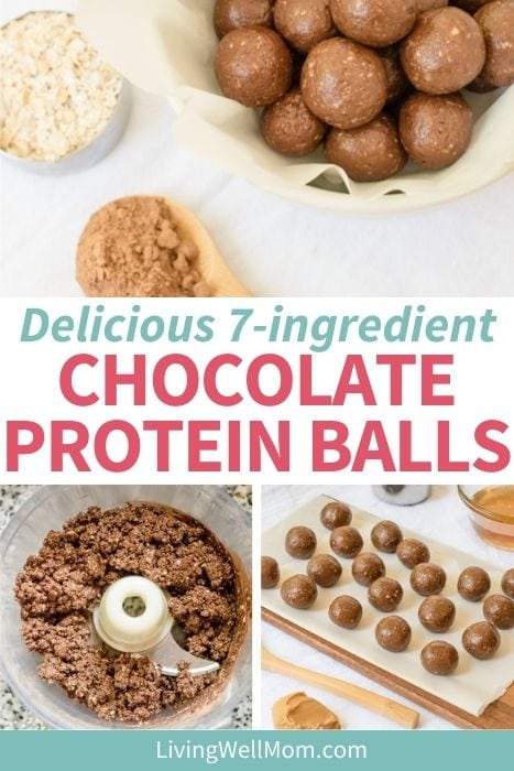 Pinterest image for delicious 7 ingredient chocolate protein balls.