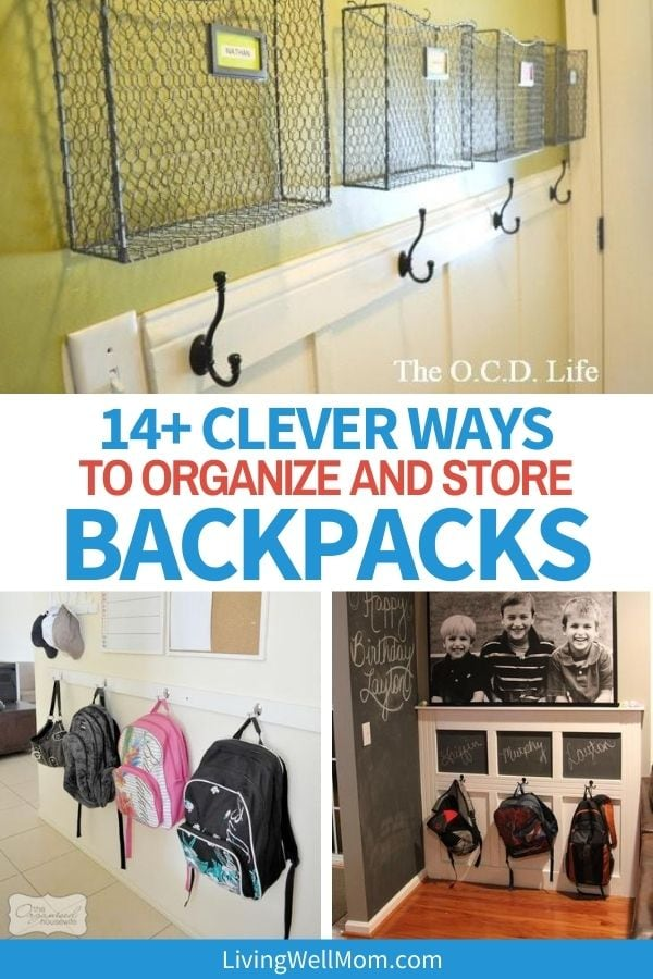collage of backpacks organized on wall hangars
