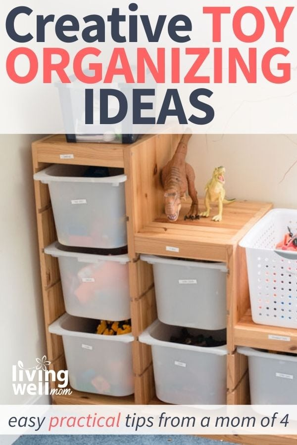 tiered wooden shelf with bins for toy organization