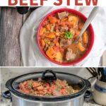 Beef stew cooking in crock pot