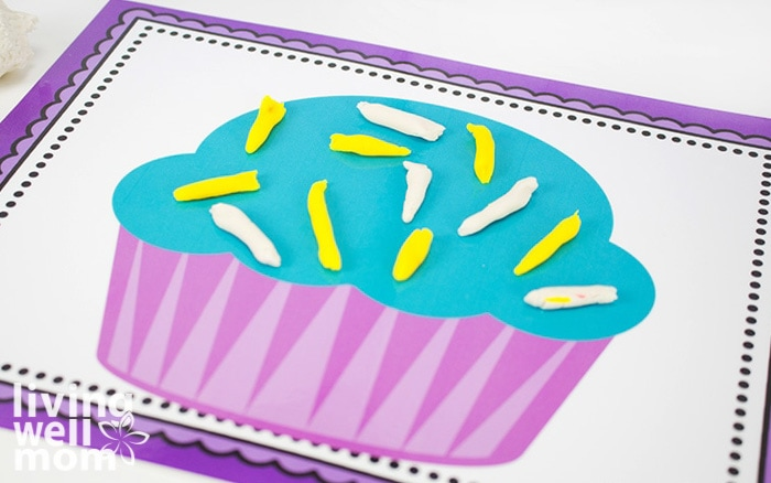 play doh mats for preschoolers with purple cupcake decorating fun