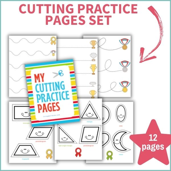layout of pages included in scissors cutting practice worksheets