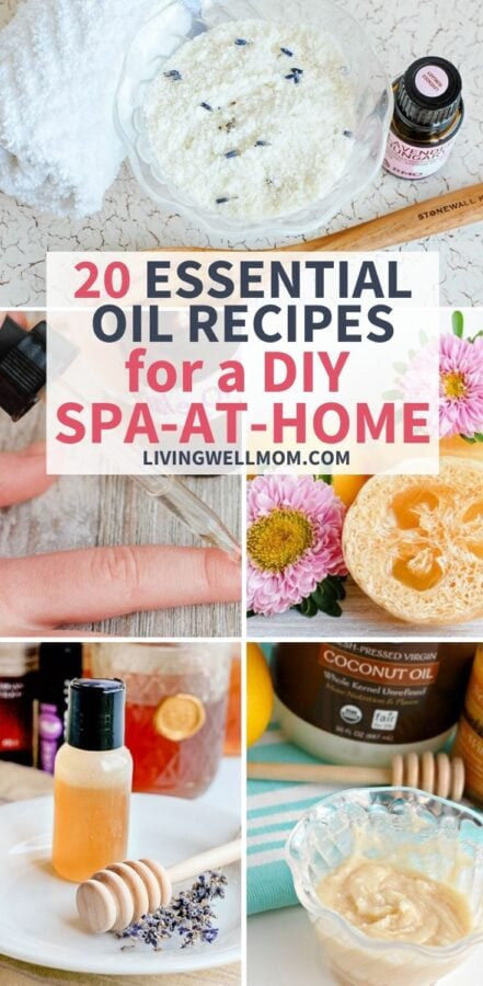 collection of images - essential oil recipes for a diy spa at home