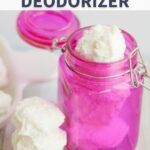 homemade garbage disposal deodorizer in a pink jar