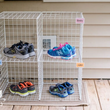 diy kids' shoe rack on a porch