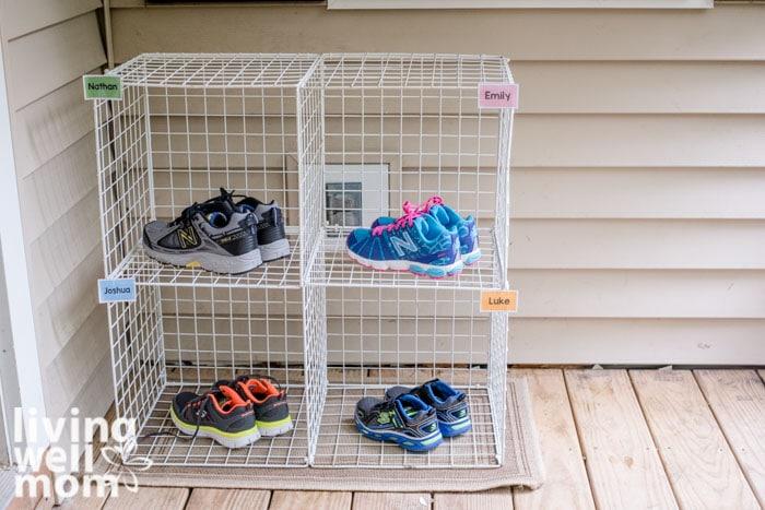 diy kids' shoe rack on a porch