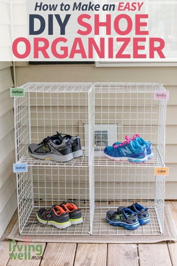 diy kids' shoe rack made with wire crates