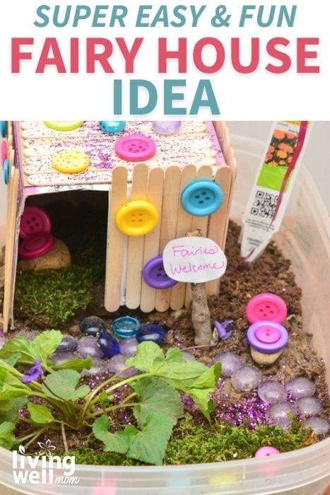 Pinterest image for a DIY fairy house