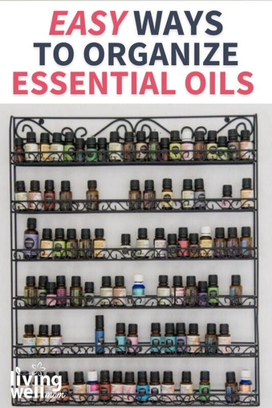 rack of essential oils hanging on a wall